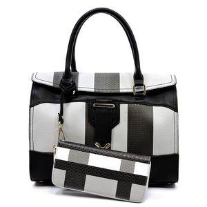 Plaid print flap Boston Satchel handbag and Wallet
